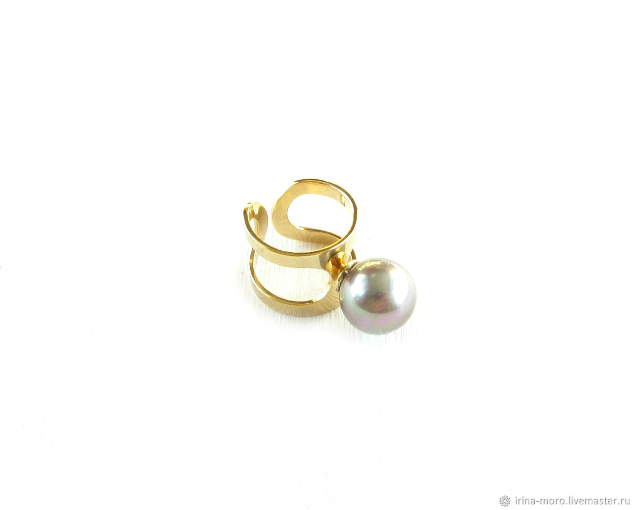 Ring 'Charm'wide ring with pearls,gold ring, Rings, Moscow,  Фото №1