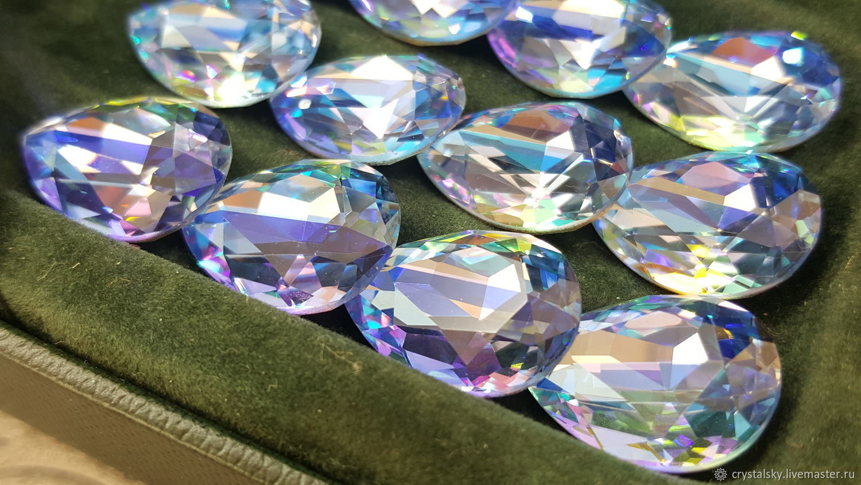 Crystal rhinestones drop 13h18 Premium, Duo Color 'Cornflowers', Crystals, Jerusalem,  Фото №1