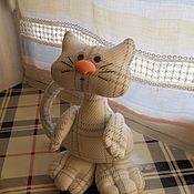Куклы и игрушки ручной работы. Ярмарка Мастеров - ручная работа Котик в клеточку (текстильная игрушка). Handmade.