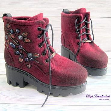 """Обувь ручной работы. Ярмарка Мастеров - ручная работа Валяные ботинки """"Северные ягоды"""". Handmade."""