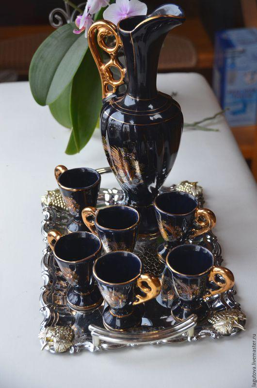 Винтажная посуда. Ярмарка Мастеров - ручная работа. Купить Кувшин и 6 рюмок. Керамика.Турция. Handmade. Тёмно-синий, керамика