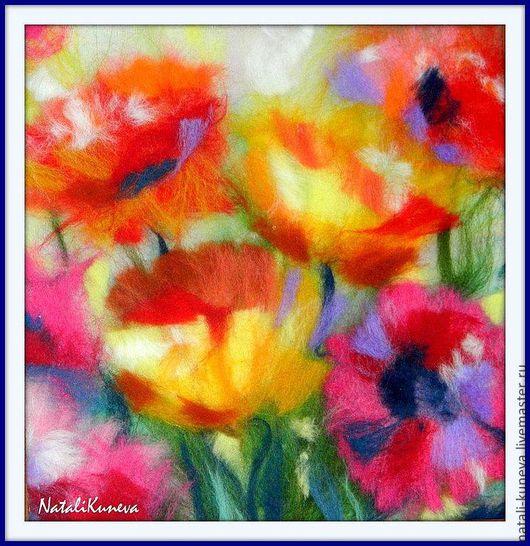 Картины цветов ручной работы. Ярмарка Мастеров - ручная работа. Купить Цветы. Handmade. Ярко-красный, картина из шерсти