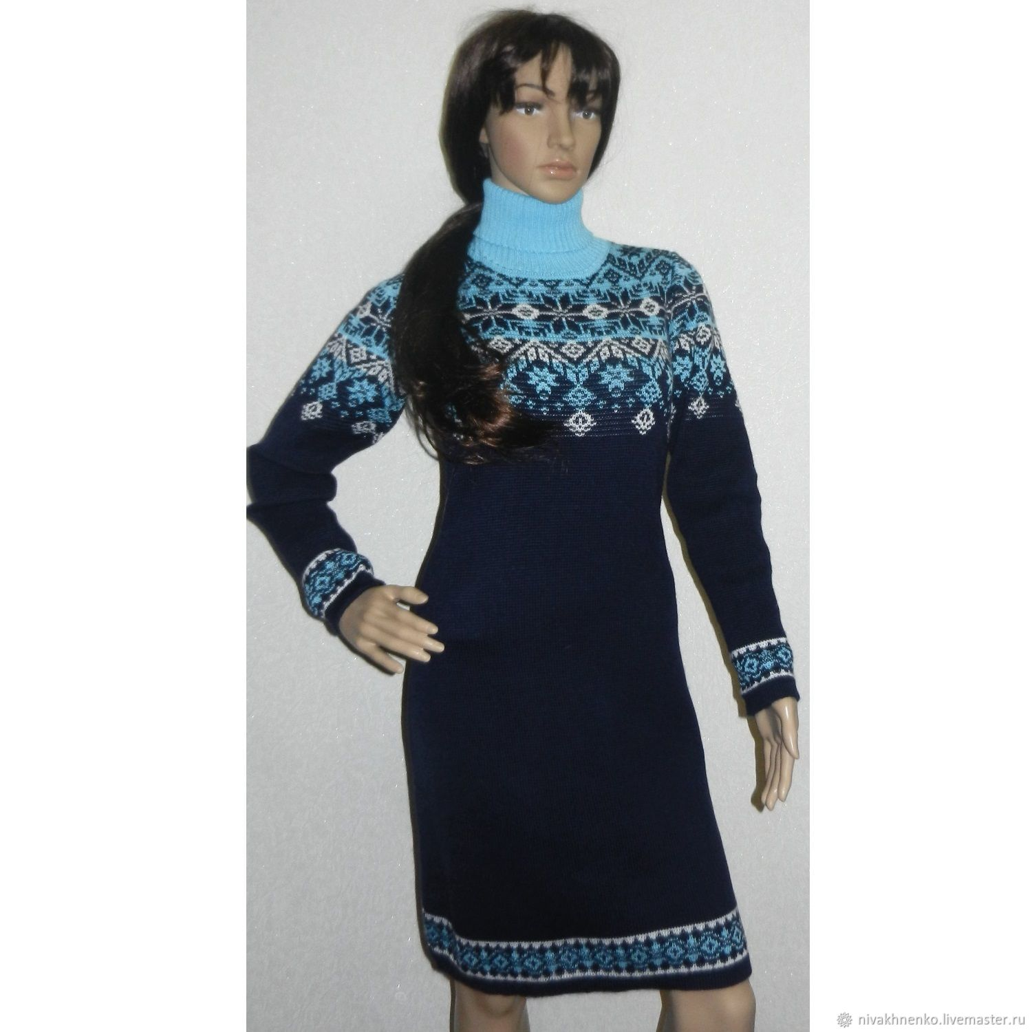 Dress knit with a Norwegian ornament Brightest star, Dresses, Moscow,  Фото №1