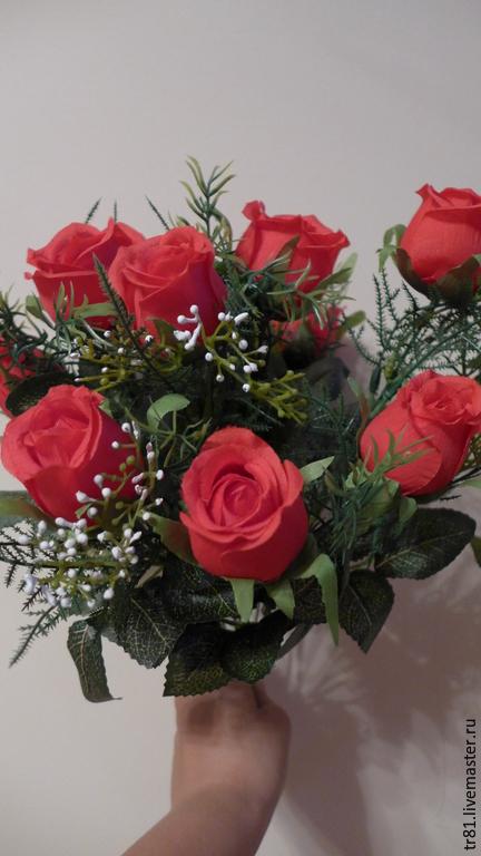 Материалы для флористики ручной работы. Ярмарка Мастеров - ручная работа. Купить Букет роз. Handmade. Роза, красная роза