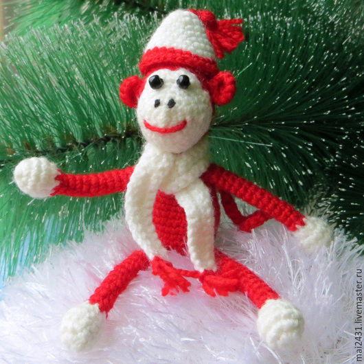 Огненная вязаная обезьянка, игрушка