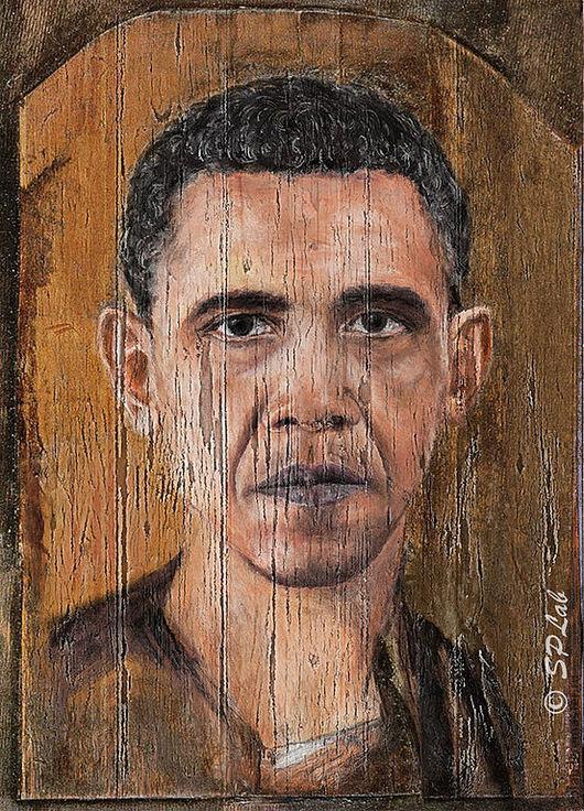 Люди, ручной работы. Ярмарка Мастеров - ручная работа. Купить Обама из Фаюма (цифровая живопись). Handmade. Портрет по фото, стилизация