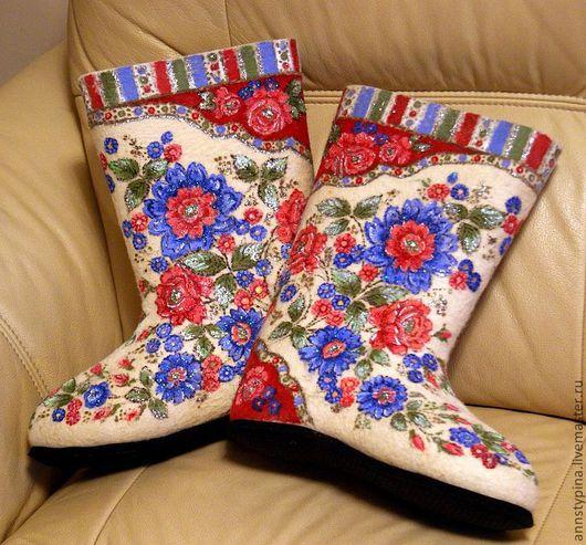 Обувь ручной работы. Ярмарка Мастеров - ручная работа. Купить под платок 9. Handmade. Валенки, шерсть, зима, войлок