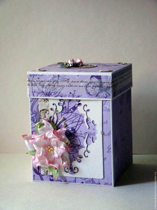 """Подарки для влюбленных ручной работы. Ярмарка Мастеров - ручная работа. Купить Magic box """"Нежность"""". Handmade. Сиреневый, коробочка для колец"""