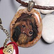 Украшения handmade. Livemaster - original item Portrait of a pet, a dog, to order from a photo. Lacquer miniature.. Handmade.