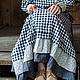 Платья ручной работы. Ярмарка Мастеров - ручная работа. Купить Длинное льняное платье бохо в клетку с оборками.. Handmade.