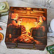 """Для дома и интерьера ручной работы. Ярмарка Мастеров - ручная работа Чайная шкатулка """"Семейное чаепитие"""". Handmade."""
