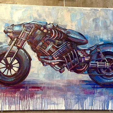 Картины и панно ручной работы. Ярмарка Мастеров - ручная работа Чоппер 120х80 см. Handmade.