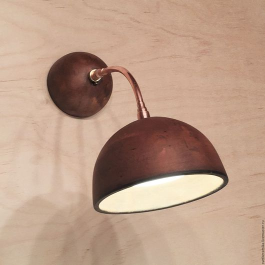 Освещение ручной работы. Ярмарка Мастеров - ручная работа. Купить Керамический светильник на стену (бра) на медном каркасе. Handmade. дача