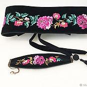Аксессуары handmade. Livemaster - original item Velvet belt and bracelet with hand embroidery. Handmade.