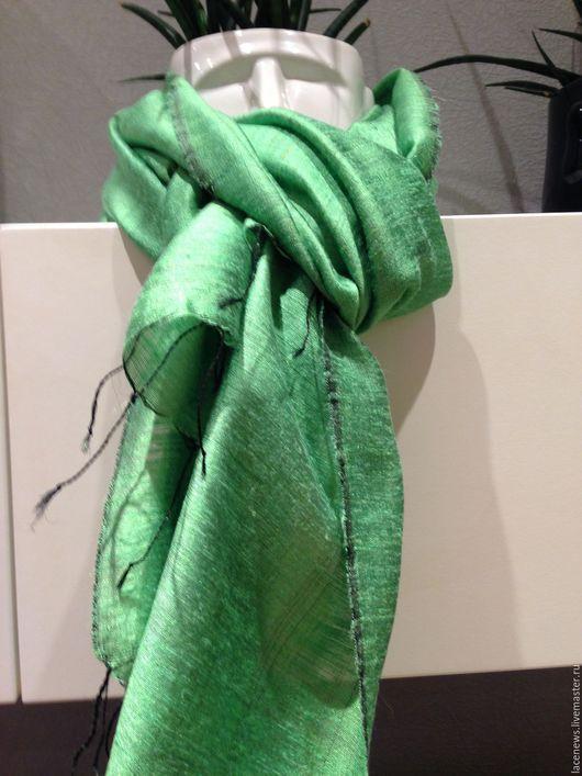 Винтажная одежда и аксессуары. Ярмарка Мастеров - ручная работа. Купить Шаль Платок Шарфик натуральный экзотический шелк Ассама 60Х200 см. Handmade.