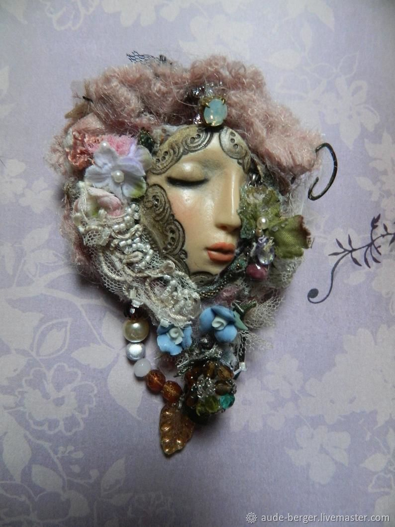 Fairy fantasy  brooch in polymer  clay with seed beads, crystal and porcelain flowers, silk chiffon rhinestones, ornated fairy cabochon with crystal, opale rhinestones