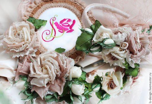 Комплекты украшений ручной работы. Ярмарка Мастеров - ручная работа. Купить Комплект украшений с цветами «Кружевные розы». Handmade. Кремовый