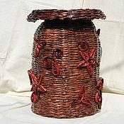 Для дома и интерьера ручной работы. Ярмарка Мастеров - ручная работа Плетеная большая ваза, плетение из бумаги. Handmade.