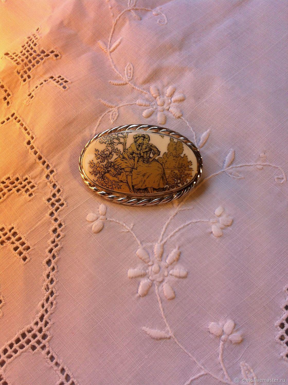 Brooch silver 935, porcelain, 'Meeting', Limoges, France, Vintage accessories, Arnhem,  Фото №1