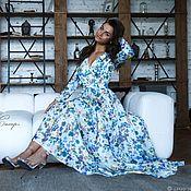 """Одежда ручной работы. Ярмарка Мастеров - ручная работа """"Цветочный водопад"""" длинное платье в пол из шифона гофре.. Handmade."""