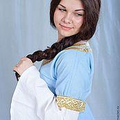 Русский стиль ручной работы. Ярмарка Мастеров - ручная работа Платье Оранта голубое. Handmade.