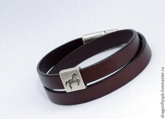 """Браслеты ручной работы. Ярмарка Мастеров - ручная работа. Купить Кожаный браслет-намотка """"лошадка"""". Handmade. Коричневый, намотка, unisex"""
