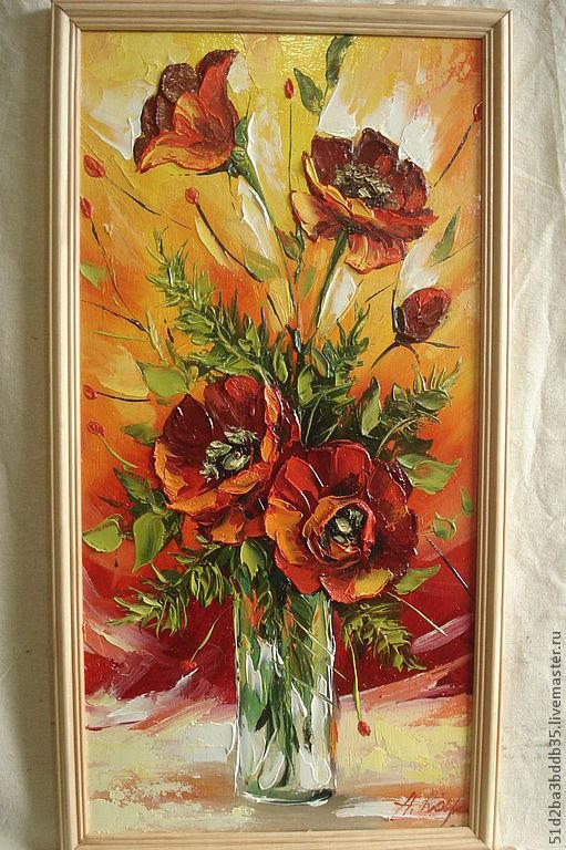 Картины цветов ручной работы. Ярмарка Мастеров - ручная работа. Купить маки. Handmade. Коралловый, картина для интерьера, масло