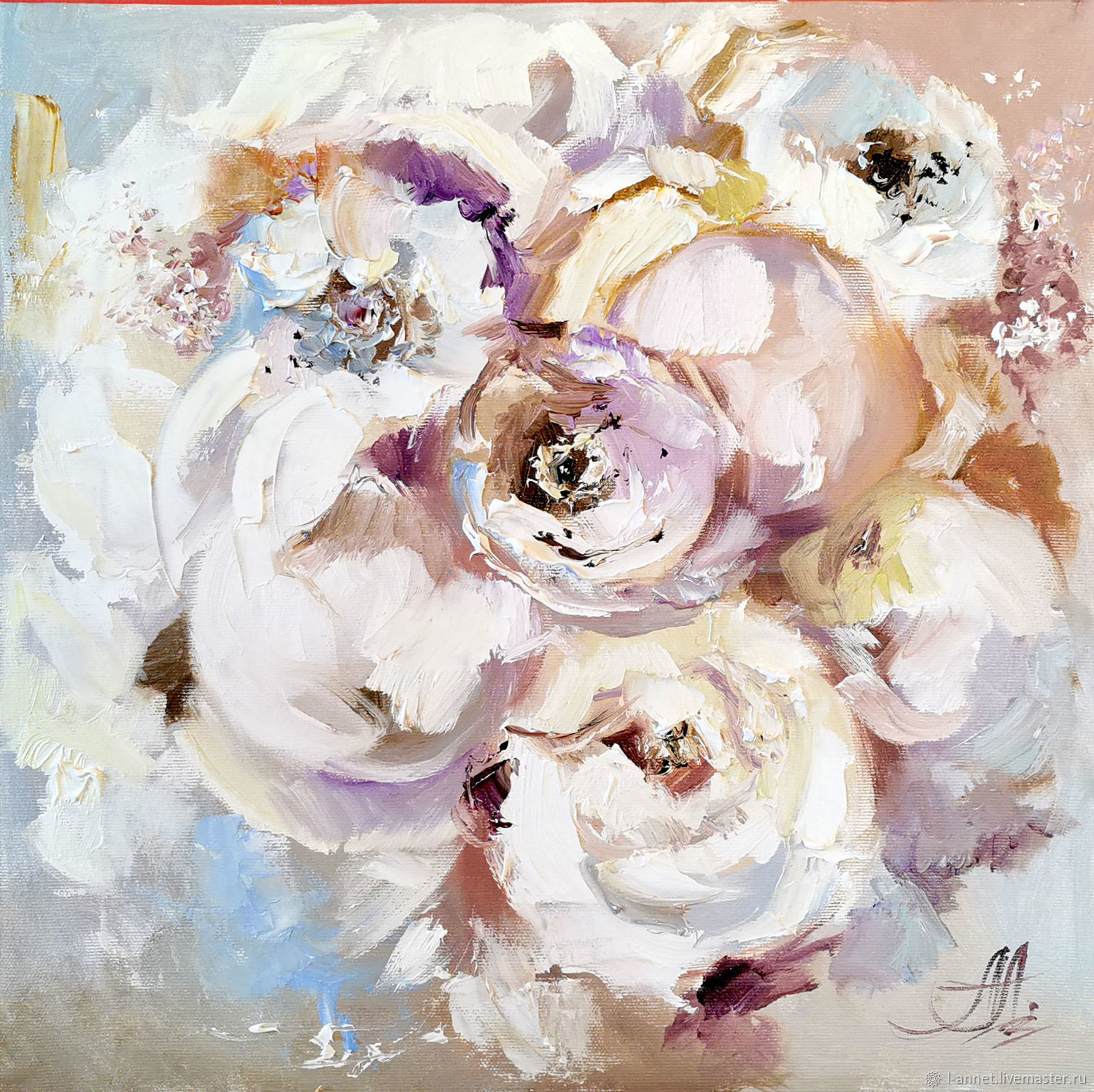 Oil painting with flowers ' Marshmallow petals', Pictures, Moscow,  Фото №1