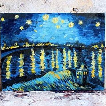 """Картины и панно ручной работы. Ярмарка Мастеров - ручная работа Картина маслом """"Звездная ночь и Тардис"""" Ван Гог вольная копия. Handmade."""