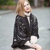 Аксессуары handmade. Livemaster - original item Cashmere Scarf black and white feather pattern shawl. Handmade.