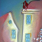 Картины и панно ручной работы. Ярмарка Мастеров - ручная работа Картина Песни на крыше. Handmade.