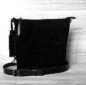 Классическая сумка ручной работы. Ярмарка Мастеров - ручная работа Кожаная сумка на плечо. Черная замшевая сумка. Черный цвет. Handmade.