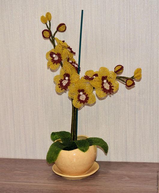 """Цветы ручной работы. Ярмарка Мастеров - ручная работа. Купить Орхидея из бисера """"Желтый цвет"""". Handmade. Цветы из бисера"""