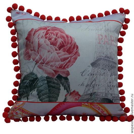 Текстиль, ковры ручной работы. Ярмарка Мастеров - ручная работа. Купить Подушка с помпонами De Paris. Handmade. Бледно-розовый
