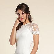 Одежда ручной работы. Ярмарка Мастеров - ручная работа 120:Платье футляр с кружевом, белое платье с кружевом по фигуре. Handmade.