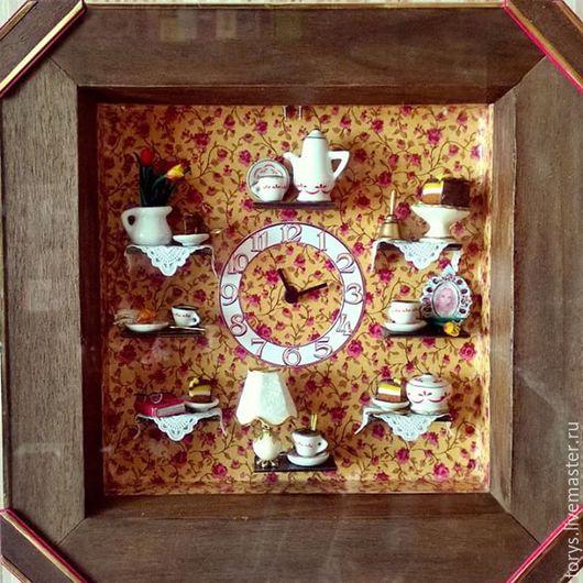 Часы для дома ручной работы. Ярмарка Мастеров - ручная работа. Купить Часы с 3D миниатюрой. Handmade. Часы настенные