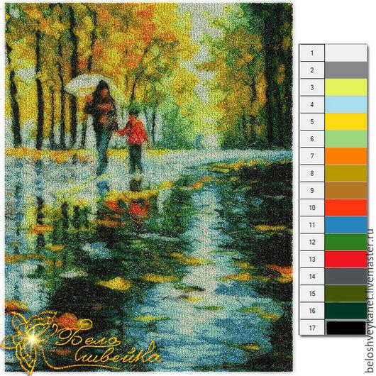 """Вышивка ручной работы. Ярмарка Мастеров - ручная работа. Купить Фотостежок """"Осенний дождь"""" (Код: NB0096). Handmade. Разноцветный, фотостежок"""
