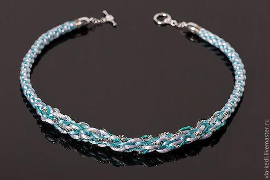 """Колье, бусы ручной работы. Ярмарка Мастеров - ручная работа. Купить Колье """"Ice-blue"""". Handmade. Бирюзовый, swarovski beads"""