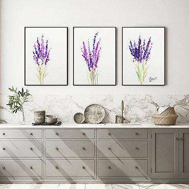 """Картины и панно ручной работы. Ярмарка Мастеров - ручная работа Триптих  Акварель  """"lavender"""" A4 x 3. Handmade."""