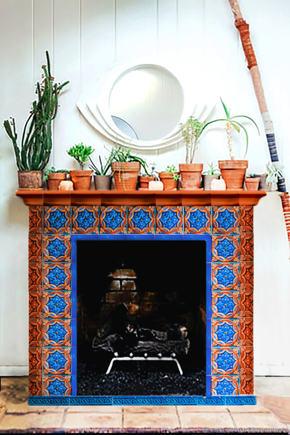 Finished tiled fireplace, Fireplaces, Moscow,  Фото №1