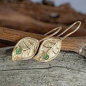 Украшения handmade. Livemaster - original item Gold loop earrings with jade. Handmade.