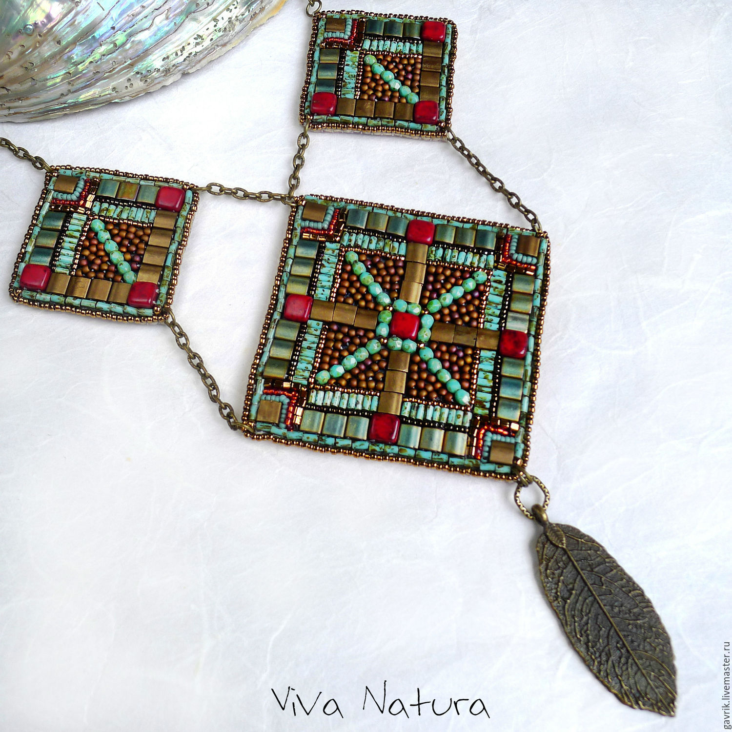 Statement necklace `Legends of Maya`. Handmade jewelry, costume jewelry. Ethnic style necklace, pendant. Seed beads embroidery.