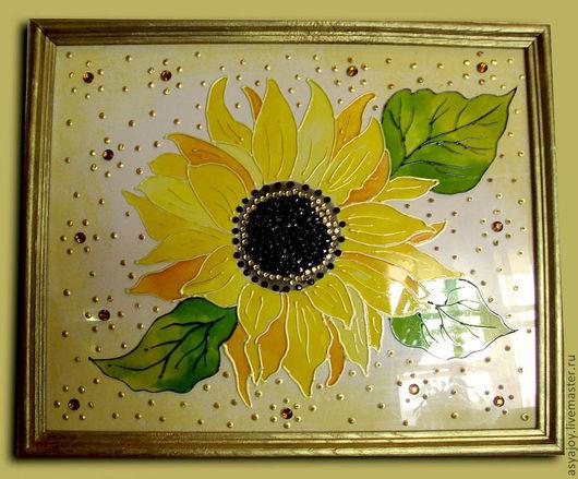 Картины цветов ручной работы. Ярмарка Мастеров - ручная работа. Купить Панно «Солнечный подсолнух». Handmade. Золотой, картина