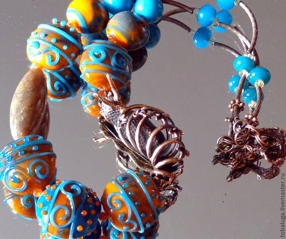Arabesque necklace in lampwork technique, Necklace, St. Petersburg,  Фото №1