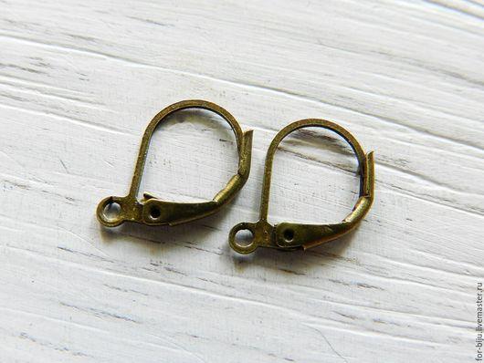 Швензы для серег с замком, цвет бронза, размер 10*15 мм, материал латунь (арт. 367)