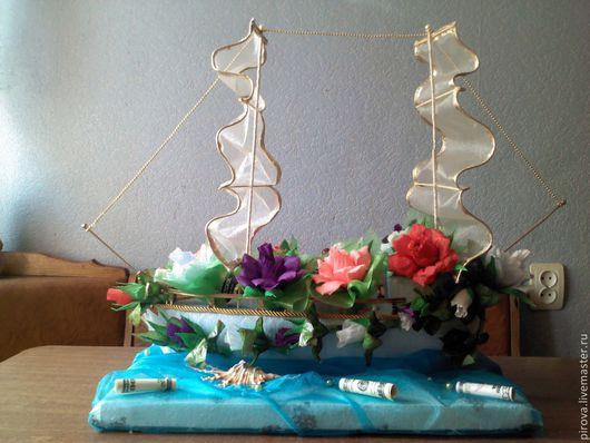 Персональные подарки ручной работы. Ярмарка Мастеров - ручная работа. Купить Корабель из конфет. Handmade. Композиция с конфет, корабль из конфет
