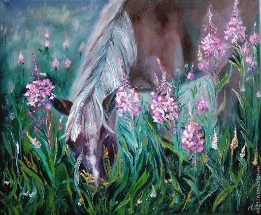 """Пейзаж ручной работы. Ярмарка Мастеров - ручная работа. Купить Большая картина """"На лугу.Лошадь"""". Handmade. Картина, конь"""