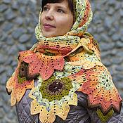 Аксессуары handmade. Livemaster - original item Large openwork shawl with autumn leaves Fairy Autumn. Handmade.