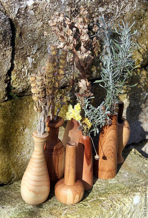 Вазы ручной работы. Ярмарка Мастеров - ручная работа. Купить Деревянные вазы для маленьких букетиков цветов из разных пород дерева.. Handmade.