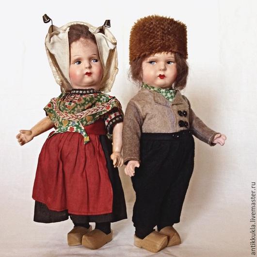 Винтажные куклы и игрушки. Ярмарка Мастеров - ручная работа. Купить Антикварная пара кукол к голландских костюмах.. Handmade. Разноцветный, лён